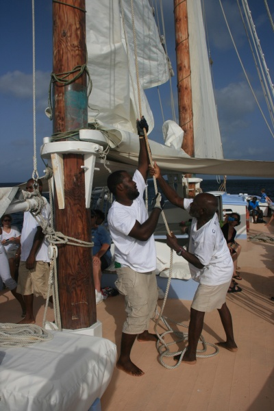 Raising the sails on the Friendship Rose.